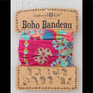 Natural Life Boho Headband Bandeau Pink & Blue